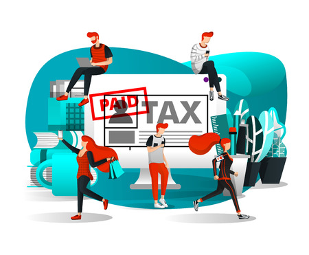 Vector Illustration For Web Page, Element, Banner, Presentation, Poster, Landing Page, Flyer, App, UI. People who Daily Activities Around a Large Desktop and Could Pay Tax Anywhere. Flat Cartoon Style Иллюстрация