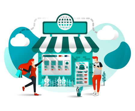 Vector Illustration Concept For Websites, Apps, UI, Print, Poster. Offline Shop are Online. Store Join Marketplace or E-commerce Digital Marketing, People Shop Just a Click With Flat Cartoon Character