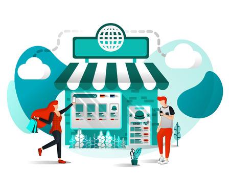 Vektor-Illustration-Konzept für Websites, Apps, UI, Print, Poster. Offline-Shop sind online. Shop Join Marketplace oder E-Commerce Digital Marketing, Leute kaufen nur einen Klick mit flachen Cartoon-Charakter