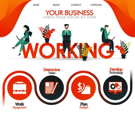 people are working on the word WORKING. can use for, landing page, template, ui, web, mobile app, poster, banner, flyer, vector illustration, online promotion, internet marketing, finance, trading Illustration