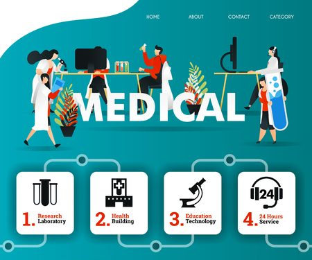 scientist and doctor are examining MEDICAL problem to facilitate patient. can use for, landing page, template, ui, web, mobile app, banner, illustration, online promotion, internet marketing, trading