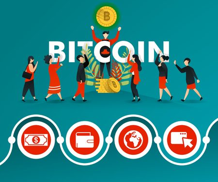 group of people who are interested in BITCOIN and men are promoting it. can use for, landing page, template, ui, web, mobile app, poster, banner, online promotion, internet marketing, finance, trading