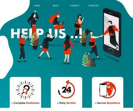 men get out of smartphone and HELP UP. people attracted and join. can be for business finance, insurance, advertising, service, landing page, template, ui, web, mobile app, poster, vector illustration