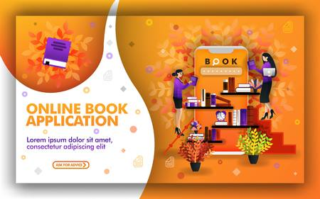 Vector illustration of online book application. technology helps find the best learning resources. place to study and read books. sell books online and online book shopping to support online education