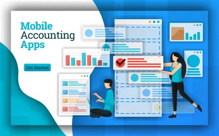Accounting companies provide Mobile Accounting Apps services for all payroll accounting services. This apps also help in accounting education, free courses and tax return certified. Flat vector style Vektorové ilustrace