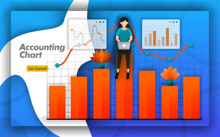 Accounting Chart Design with bar charts and line charts for all accounting activities, accounting training, certifications. simply bookkeeping for brochure and design presentations. Flat vector style Ilustracja
