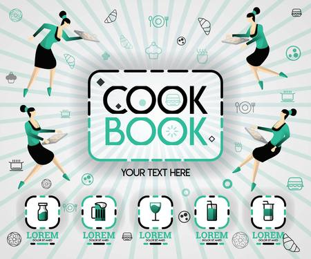 green vector illustration concept. cookbook recipes and food cover book. healthy cooking recipe and delicious food cover can be for, magazine, cover, banner, cookbook, book, mobile. flat cartoon style