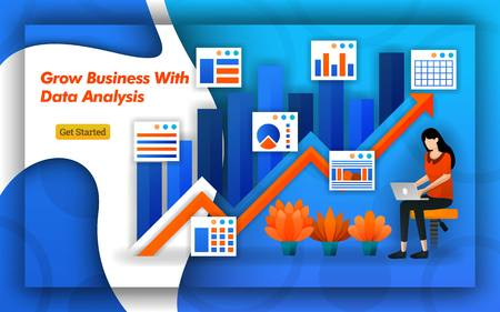 Illustration of Grow Business with data analysis. up arrow indicates sales and trafic. Professional accounting provide virtual bookkeeping services for all accounting service basics. Flat vector style Ilustração