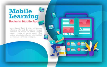 Abstract illustration for mobile learning and education. students sit in piles of books, books that come out of smartphone. online learning using mobile apps. Learning programs make education upgrades
