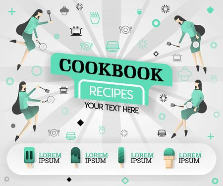 green vector illustration concept. cookbook recipes recipes cover book. healthy cooking recipe and delicious food cover can be for, magazine, cover, banner, cookbook, book, mobile. flat cartoon style