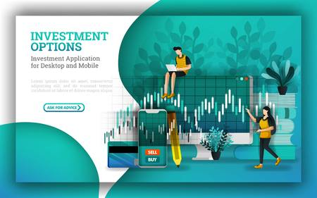 flat Illustrations for leading mutual fund companies provide options to answer how to invest money. investing for beginners with buy stocks uses strategies. expand your portfolio to increase capital. Illustration