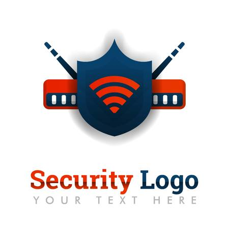Security logo template for network protection, secure internet, industrial router, network software, internet providers, marketplace, online, wifi  .can be for web, banner, flyer, brochure, mobile Illustration