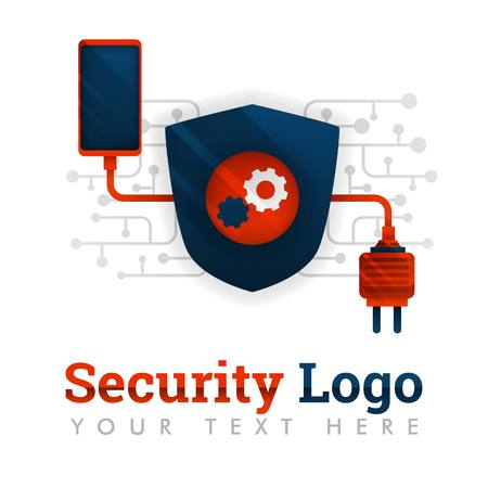Security logo template for communication, electronics, smartphone industry, technology, network, mechanism, industry, business, internet, database. can be for web, banner, flyer, brochure, mobile, UI