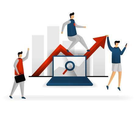 business and promotion of vector illustration. search for the right keywords for each topic, determine the direction of traffic, use SEO when needed. SEO logo. SEO logo .flat character style