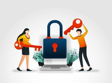 Notion d'illustration vectorielle. les gens détiennent la clé pour essayer d'entrer et de déverrouiller la sécurité des applications, mais échouent parce que la protection des cadres et les produits de la société de services de sécurité sont très bons.