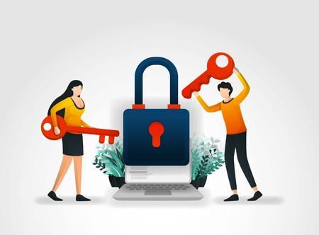 Vector illustration concept. people are holding key to trying to enter and unlock application security but fail because executive protection and products from security services company that very good.