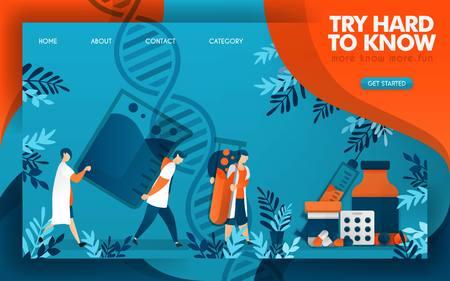 Doctors work hard to know the science of making good medicine. flat cartoon vector illustration Illusztráció