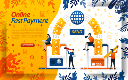 Fastest online payment. transfer money online with cards and smartphones. send money, concept vector ilustration. can use for, landing page, template, ui, web, mobile app, poster, banner, flayer Çizim