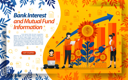 banking to save mutual funds. good bank interest. water the flowers, concept vector ilustration. can use for landing page, template, ui, web, mobile app, poster, banner, flyer, document, website