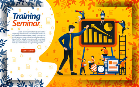Teach business for beginners. seminar for entrepreneur training and increasing sales, concept vector ilustration. can use for landing page, template, ui, web, mobile app, poster, banner, document Illusztráció