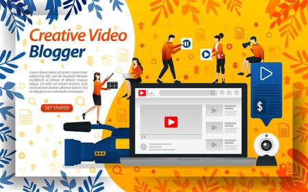Kreatives Blogger-Video. Vlog-Studio zum Bearbeiten. Online-Influencer, Vlogger und Selebgram, Konzeptvektor-Ilustration. kann für Landing Page, Vorlage, Benutzeroberfläche, Web, mobile App, Poster, Banner, Flyer verwendet werden