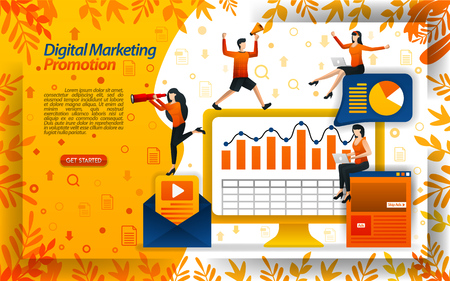 Increase sales with digital marketing videos, online promotions, email newsletters, concept vector ilustration. can use for landing page, template, ui, web, mobile app, poster, banner, flyer, website Çizim
