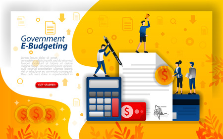 online financial planning, digital budgeting, online government budgeting, e-budgeting technology, concept vector ilustration. can use for, landing page, template, ui, web, mobile app, poster, banner