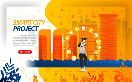 Government projects for smart city, make the city become an IoT (internet of things), concept vector ilustration. can use for, landing page, template, ui, web, mobile app, poster, banner, flayer Çizim