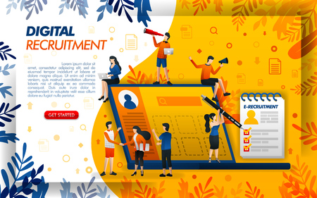 Digital online recruitment for companies and job seekers. application for HR and personnel, concept vector ilustration. can use for, landing page, template, ui, web, mobile app, poster, banner, flayer 矢量图像