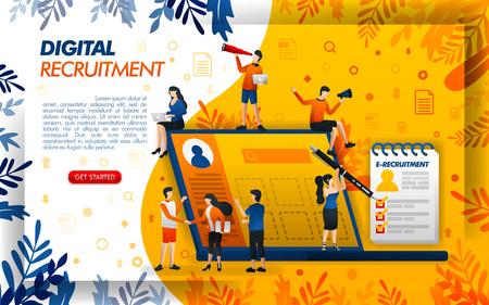 Digitale Online-Rekrutierung für Unternehmen und Stellensuchende. Anwendung für HR und Personal, Konzeptvektorillustration. kann für Landing Page, Vorlage, Benutzeroberfläche, Web, mobile App, Poster, Banner, Flayer verwendet werden Vektorgrafik