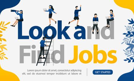 Förderung, um Arbeitskräfte zu finden. mit den Worten Suchen und Finden von Jobs, Konzeptvektorillustration. kann für Landing Page, Vorlage, Benutzeroberfläche, Web, Handy, Poster, Banner, Flyer, Hintergrund, Website, Werbung verwendet werden