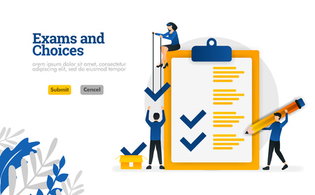 Exams and Choices Flat character for learning and survey consultants vector illustration concept can be use for, landing page, template, ui ux, web, mobile app, poster, banner, website
