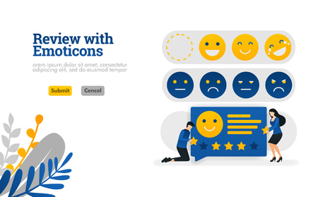 Review with emoticons. people who give ratings and suggestions with emoticons vector illustration concept can be use for, landing page, template, ui ux, web, mobile app, poster, banner, website Vectores