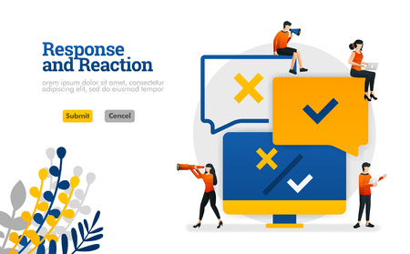 Response and Reaction processing application from user comments for products vector illustration concept can be use for, landing page, template, ui ux, web, mobile app, poster, banner, website