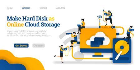 Make Harddisk as Online Cloud Storage. file sharing in hard storage to cloud hosting. Vector flat illustration concept, can use for, landing page, template, ui, web, homepage, poster, banner, flyer Stock Illustratie