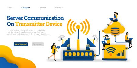 Server Communication on Transmitter Device. transmitter distributes data from database. Vector flat illustration concept, can use for, landing page, template, ui, web, homepage, poster, banner, flyer ads Stock Illustratie