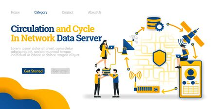 Circulation and Cycle in Data Server. overview of network communication data from a phone. Vector flat illustration concept, can use for, landing page, template, ui, homepage, poster, banner, flyer ads
