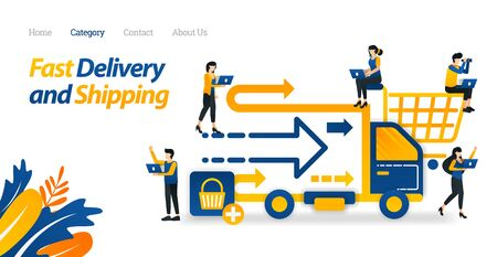 Fast Delivery and Shipping Services Provided from Online Stores or E-commerce. Vector Illustration, Flat Icon Style Suitable for Web Landing Page, Banner, Flyer, Sticker, Wallpaper, Card, Background ads