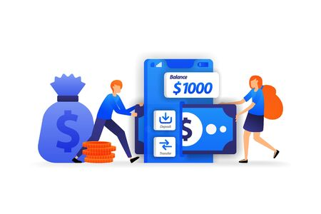 mobile banking apps. safe place to save money, a woman add money to deposit into account. business vector illustration concept for, landing page, web, ui, banner, flyer, poster, template, background ads Vector Illustration