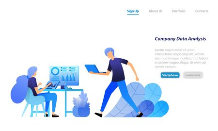 employees analyze company statistical data. search for and solve corporate problems in data analysis. vector illustration concept for landing page, web, ui, banner, flyer, poster, template background