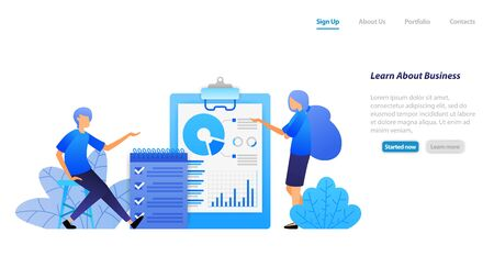 people studying business by analyzing data and checking tasks discussing. finding problem solutions. vector illustration concept for landing page, web, ui, banner, flyer, poster, template background Illusztráció