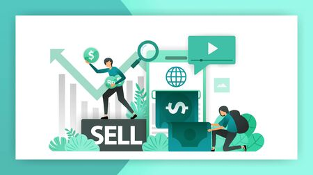 Make money online. Mobile banking increase profits in business, investment by selling shares and making a business. vector illustration concept for landing page ui web mobile app poster banner flyer ads