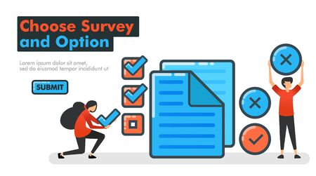 Choose Survey and Option line vector illustration. Make choices on surveys and examinations by checking or crossing documents. Check and make choices yes or no. for Landing pages Website Mobile App UI