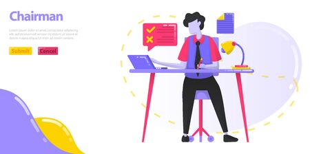 Illustration Chairman. The CEO who is working at the desk. Men who manage the work and operations of the company. flat vector concept for Landing page, website, mobile, apps ui, banner, poster, flyer