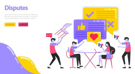 Illustration of a dispute. People are discussing and disputing in expressing their opinion. Man throws a chair during a meeting and has a discussion. Flat vector concept for Landing page, website, app  イラスト・ベクター素材