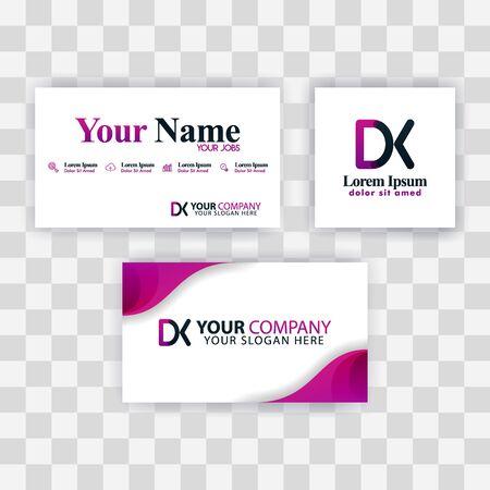 Clean Business Card Template Concept. Vector Purple Modern Creative. KD Letter logo Minimal Gradient Corporate. DK Company Luxury Logo Background. Logo D for print, marketing, identity, identification Logó
