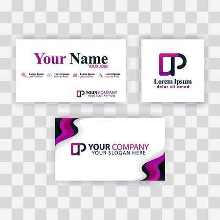 Clean Business Card Template Concept. Vector Purple Modern Creative. PD Letter logo Minimal Gradient Corporate. DP Company Luxury Logo Background. Logo D for print, marketing, identity, identification