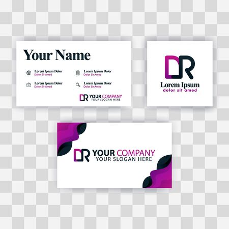 Clean Business Card Template Concept. Vector Purple Modern Creative. RD Letter logo Minimal Gradient Corporate. DR Company Luxury Logo Background. Logo D for print, marketing, identity, identification