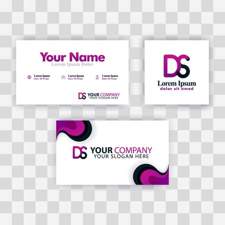Clean Business Card Template Concept. Vector Purple Modern Creative. SD Letter logo Minimal Gradient Corporate. DS Company Luxury Logo Background. Logo D for print, marketing, identity, identification Ilustrace