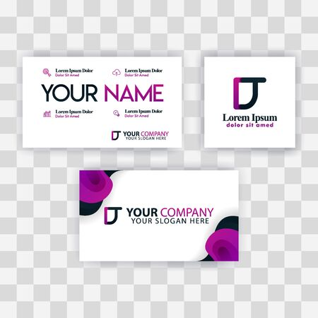 Clean Business Card Template Concept. Vector Purple Modern Creative. TD Letter logo Minimal Gradient Corporate. DT Company Luxury Logo Background. Logo D for print, marketing, identity, identification Ilustrace